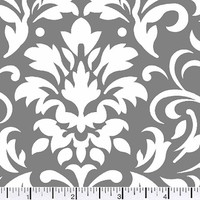 1/2 Yard Quilt Fabric Delightful Damask Gray And White Cotton