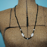Black and White Glass Beaded Necklace - 25 Inches