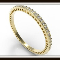 Elegant Diamond Micro Pave 14k Yellow Gold Women Wedding Band