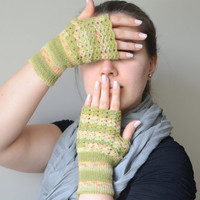 Fingerless gloves green oil green mottled wool gloves winter gloves birthday gifts valentines day gifts