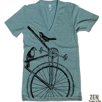 Unisex SPARROWS on a BIKE Deep V Neck t shirt american apparel XS S M L (11 Colors Available)
