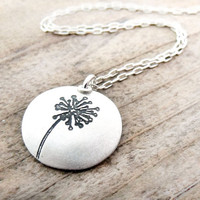 Silver dandelion necklace - make a wish
