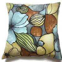 Two Aqua Brown Yellow Kiwi Black Gray Modern Floral Decorative Pillow Covers Toss Throw Accent Covers Accent Pillow Covers Handmade 18 inch