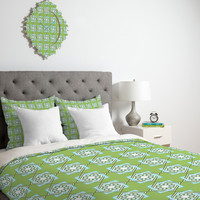 Lara Kulpa Green Diamond Flower Duvet Cover
