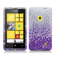 Nokia Lumia 521 [T-Mobile] Full Diamond Bling Hard Shell Case (Waterfall - Purple)