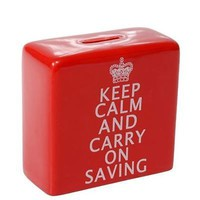 NEW IN BOX - KEEP CALM AND CARRY ON SAVING - CERAMIC MONEY BANK - RED WITH WHITE