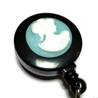 Id Badge Reel White Cameo on Blue Clip On Retractable Handmade