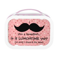Funny Moustache you a Question, pink polka dots