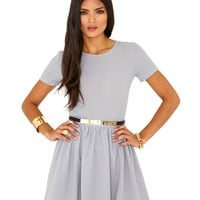 Missguided - Umaiza Belted Skater Dress In Grey