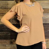 Sprinkled With Love Brown Embellished Top