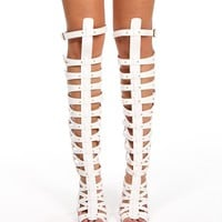 Promo-White Tall Caged Heels