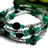 Bracelet Fashion Jewelry Memory Wrapped Emerald Green Black Gemstone