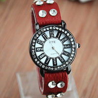 Handmade Vintage Style Leather Watch For Women Round Rhinestone Dial Watch in 4 Color