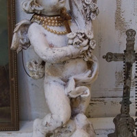 Cherub statue French Nordic inspired white distressed hand made attached crown shabby chic sculpture Anita Spero