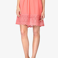 Embroidered Hem A-Line Skirt