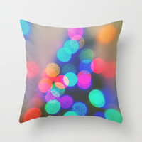 bokeh Christmas 3 Throw Pillow by Deb Schmill