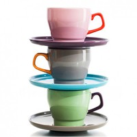 Aldea Home | Pastel Coffee Cup with Saucer