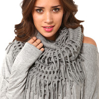 Fringe Infinity Scarf in Grey