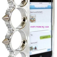 Silver Chrome Color Spike Knuckle Rhinestone Jewel Bling Bumper Case Cover for Iphone 5g Plus Screen Protector