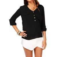 Black Long Sleeve Sheer Top