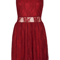 **SLEEVELESS LACE SKATER DRESS BY RARE