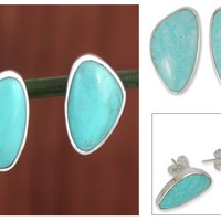 Modern Fine Silver Button Earrings with Natural Turquoise - Allure | NOVICA