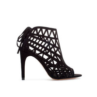 OPEN WORK HIGH HEEL LEATHER SANDAL