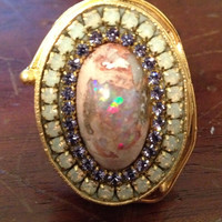 Mexican boulder fire opal Austrian crystal ring