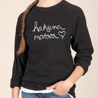 Hakuna Matata Eco Fleece Crew Neck Sweatshirt in Black
