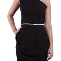 Fiona One Shoulder Black Dress