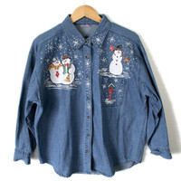 DIY Glitter Snowmen Denim Ugly Christmas Shirt