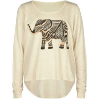 Full Tilt Elephant Girls Hi Low Tee Oatmeal  In Sizes