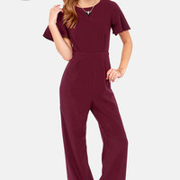 LULUS Exclusive Between View and Me Backless Burgundy Jumpsuit