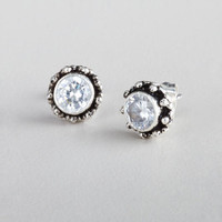 Cubic Zirconia Tribal Stud Earrings - World Market