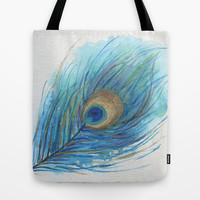 Colorful Peacock Feather Acrylic Painting  Tote Bag by ModArtSpace