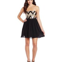 My Michelle Juniors Sequin Chevron Top Dress