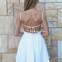 LADY LUCK DRESS , DRESSES, TOPS, BOTTOMS, JACKETS & JUMPERS, ACCESSORIES, SALE, PRE ORDER, NEW ARRIVALS, PLAYSUIT, COLOUR, GIFT VOUCHER,,White,BACKLESS Australia, Queensland, Brisbane