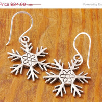 50% OFF - Snowflake Earring - holiday sale, christmas, winter earring, charm earring, black friday, cyber monday