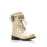 Dome Studded Burnished Combat Boots - GoJane.com
