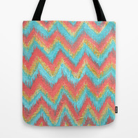 Chevron Ikat Acrylic Teal Coral Painting Tote Bag by ModArtSpace