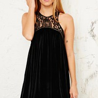 Ecote Velvet Babydoll Harness Dress at Urban Outfitters