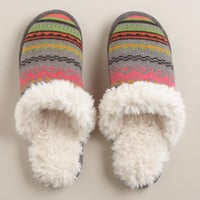 Gray Sherpa Slippers