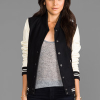 Obey Drop Out Varsity Style Jacket in Black/Cream