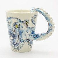 Octopus Mug 00005 Ceramic 3D Cup Handmade Animal Lover Marine Life Gifts Original Handcrafted Coffee Cup Sculpt and Paint