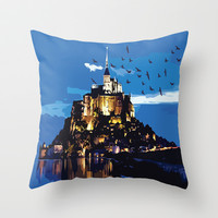 Mont Saint-Michel Throw Pillow by Cindys