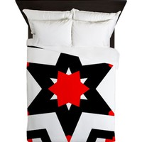 Ruth Janne Red/Black/White Queen Duvet Cover