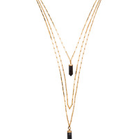 New Day Layered Brass Necklace in Black & Gold