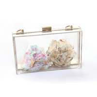 New Perspex Clutch Handbag Transparent Acrylic Clear Purse Bag / Multi-color (Transparent)