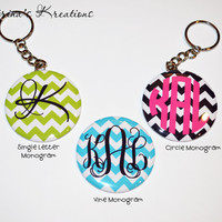 "2.25"" Chevron Monogram Keychain~Personalized"