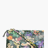 GREEN MULTICOLOR LEATHER FLORAL ENVELOPE CLUTCH
